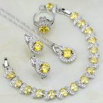 Yellow Cubic Zirconia White CZ Round 925 Sterling <b>Silver</b> Jewelry Sets For Women Party Ring/Earring/Pendant/Necklace/<b>Bracelet</b>