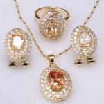 Direct Selling Orange Champagne Morganite Gems Jewelry Sets Necklace <b>Earrings</b> Pendants Ring For Women Size 6 7 8 9 S8618