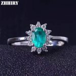 ZHHIRY Real Emerald Ring 925 <b>Sterling</b> <b>Silver</b> Natural Gem Stone Wedding For Women Genuine Fine <b>Jewelry</b> 4*6mm