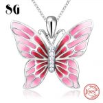 100% 925 sterling silver cute butterfly charms pendant chain necklace with red enamel diy fashion <b>jewelry</b> <b>making</b> for women gifts
