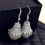Luxury Gorgeous Popular Bloom Flower Shape Cubic Zirconia Big Pearl Dangle Earrings Long Earrings Women Party <b>Wedding</b> <b>Jewelry</b>