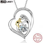 JQUEEN 925 Sterling <b>Silver</b> Mother's Love Jewelry 18k Gold Plated Mom Hold Baby Family Heart Pendant <b>Necklace</b> Chain