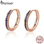 BAMOER 100% Authentic 925 Sterling Silver Blue CZ Simple Gold Color Female Hoop Earrings for Women <b>Fashion</b> <b>Jewelry</b> Gift PAS531