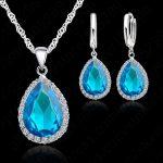 JEXXI Hottest 925 Sterling <b>Silver</b> <b>Necklace</b> Jewelry Set Water Drop Cubic Zircon Crystal <b>Necklaces</b> Wedding <b>Necklace</b> Pendants