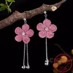 Real 925 Sterling Silver Natural Creative <b>Handmade</b> Fine <b>Jewelry</b> Fresh Bell Flower Dangle Earrings for Women Brincos