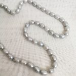"17"" 43cm Women <b>Jewelry</b> necklace 8x9mm gray oval round pearl <b>handmade</b> Real cultured freshwater pearl gift"