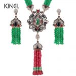Kinel Luxury Natural Stone Antique <b>Jewelry</b> Sets Gold Color Manual Beaded African Bead Tassels <b>Necklace</b> Earrings Vintage <b>Jewelry</b>
