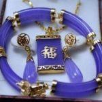 Prett Lovely Women's Wedding Purple gem Link Bracelet Stud Earrings Pendant Necklace Set Lucky 5.23 silver <b>jewelry</b> boucle