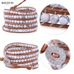 KELITCH Bracelet <b>Jewelry</b> leather bracelet Wrap <b>Handmade</b> Synthetic Stone Beaded Bracelet Charm Bracelet For Women Beautiful Gifts