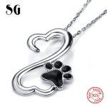 925 sterling silver cute animal dog footprint pendant chain necklace with black enamel diy fashion <b>jewelry</b> <b>making</b> women gift