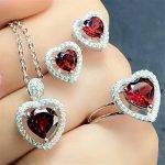 hot sale 925 <b>silver</b> natural gemstone ring <b>earrings</b> pendant necklace jewelry set MEDBOO brand heart shape red garnet jewelry set