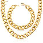 U7 Ethiopian <b>Jewelry</b> Set For Men Gold Color 11MM Wide Cuban Link Chunky Chain Bracelet <b>Necklace</b> Set S759