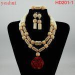 Nigerian Wedding African Beads <b>Jewelry</b> Set Blue African Costume <b>Jewelry</b> Sets Coral Beads <b>Necklace</b> Sets Free Shipping HD201-1