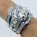 Fashion <b>Jewelry</b> <b>Handmade</b> Vintage <b>Jewelry</b> Gem 5A Zircon stone 10KT White Gold Filled Engagement Wedding Band Ring Set Sz 5-11