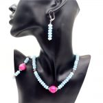 Vintage Classic Natural Stone Jewelry Set Simply 5*8mm Aquamarines and Rubies Beaded <b>Earrings</b> / Strand Necklace / Bracelet