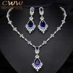 CWWZircons AAA Quality Cubic Zirconia Big Drop Royal Blue Bridal Wedding Evening Earring <b>Necklace</b> <b>Jewelry</b> Set For Women T064