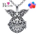 BUY 2+ GET 1 FREE!Aromatherapy <b>Jewelry</b> <b>Antique</b> Silver Charms Flower Wing Hollow Locket Necklace Essential Oil Fragrance Diffuser