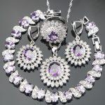 New Purple Stones Costume Jewelry Sets <b>Silver</b> 925 Jewelry For Women <b>Bracelets</b> Pendant Necklace Chain Rings Earrings Set Gift Box