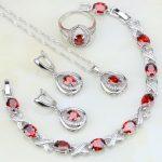 Egg Shaped Red Garnet Stones White CZ 925 <b>Silver</b> Jewelry Sets For Women Wedding Earrings/Pendant/Necklace/<b>Bracelet</b>/Ring