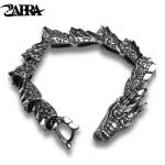 ZABRA Luxury Pure 925 <b>Sterling</b> <b>Silver</b> Dragon Bracelet Men Vintage Punk Rock Biker Mens Bracelets 2017 Man <b>Silver</b> 925 <b>Jewelry</b>