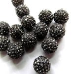 Hematite grey micro pave bling disco ball round spacer bead Round Hematite Gunmetal <b>Antique</b> Silver Gold gunmetal Finding 20pcs 6