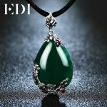 EDI Natural Chalcedony Gemstone Elegant Pendant For Women Garnet 925 Sterling-<b>silver</b>-jewelry Flower <b>Necklace</b> Chains Gifts