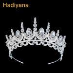 Hadiyana Princess Crown Cubic Zinconia Rhinestones Tiara Hair Band <b>Jewelry</b> Silver Women Hair Accessories <b>Wedding</b> Crowns BC3614
