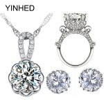 YINHED 925 Sterling <b>Silver</b> Bridal Jewelry Sets 4CT Big CZ Diamant Stud Earrings <b>Necklace</b> Ring Sets Women Wedding Jewelry ZS045