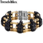 Trendsmax Skulls Bracelet For Men 316L Stainless Steel Bicycle Skulls Link Chain Big Heavy Biker Bracelets <b>Jewelry</b> 22cm HBM66