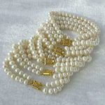New White Akoya Cultured Pearl 5PC Round loose beads <b>making</b> Woman Bracelet BV54