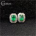Fashion emerald stud earrings for party 4 mm * 6 mm real natural emerald <b>silver</b> earrings 925 <b>sterling</b> <b>silver</b> emerald <b>jewelry</b>