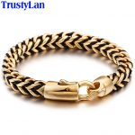 TrustyLan Braided Wrap Leather Men Bracelet Golden Gold Color Stainless Steel Friendship Men's Bracelets For Men Indian <b>Jewelry</b>