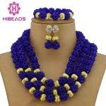 Classic Royal Blue African Costume Beaded <b>Jewelry</b> Set <b>Handmade</b> 3 Layers Nigerian Beads Wedding Jewellery Set Free Shipping GB005