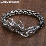 Davieslee Dragon Head Men's Bracelet Male 316L Stainless Steel Bracelet Wheat Link Chain Punk <b>Jewelry</b> 9mm 21.5cm DLHB450