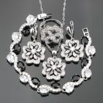925 Sterling <b>Silver</b> Wedding Black White Stones Ladies Bridal Jewelry Sets For Women Ring Size 6/7/8/9/10 <b>Bracelet</b> Length 18CM