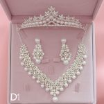 Bridal Necklace Earrings Tiara Jewrelery Set Sprkling Rhinestone Crystal Pearl <b>Handmade</b> Wedding <b>Jewelry</b> Set Women Parting Gifts