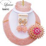 Laanc <b>Handmade</b> Peach Crystal Beaded Necklace Nigerian Wedding African Beads <b>Jewelry</b> Set for Women 5DS009
