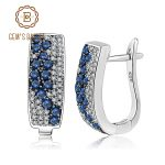 Gem's Ballet Natural Blue Sapphire Gemstone Wedding Engagement Clip <b>Earrings</b> For Women 925 Sterling <b>Silver</b> Fine Jewelry