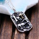 MetJakt Hand Carved Skull Pendant Solid 925 <b>Sterling</b> <b>Silver</b> Pendant for Men's Vintage Thai <b>Silver</b> Punk Rock Personality <b>Jewelry</b>