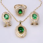2017 New Style Direct Selling Oval Green Stones Gold Color Jewelry Sets <b>Necklace</b> Earrings Pendant Rings Size 6 7 8 9 S8620