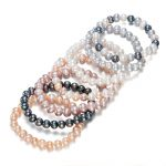SNH Potato Shape Stretch Adjustable Real Genuine Freshwater Natural Pearl Bangle <b>Bracelet</b> For Women 7 Colors Per Set