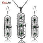 Szjinao Wholesale Emerald Jewelry Set 925 Sterling <b>Silver</b> Fashion Vintage <b>Earrings</b> Pendant For Women Free Gift Box
