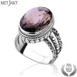 MetJakt Natural Oval Smoky Quartz Ring Solid 925 Sterling Silver Women's <b>Handmade</b> Ring for Party Wedding Fine <b>Jewelry</b>