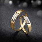 Diamond Engagement Ring Wedding Couple Set 0.02+0.04 Carat <b>Jewelry</b> 18K Yellow Gold <b>Handmade</b> Wedding Bands