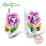 SANTUZZA <b>Silver</b> Flower Earrings For Women 925 <b>Sterling</b> <b>Silver</b> Earrings <b>Silver</b> 925 Cubic Zirconia brincos Fashion <b>Jewelry</b> Enamel