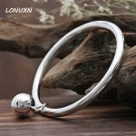 22g Can engraved Authentic 100% 925 <b>Sterling</b> <b>Silver</b> bracelet female fine smooth simple bell solid custom handmade women <b>jewelry</b>