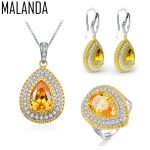 MALANDA New Excellent Zircon Crystal from Swarovski Necklaces Earrings Rings Set For Women <b>Fashion</b> Wedding Luxury <b>Jewelry</b> Sets