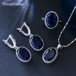 ThreeGraces <b>Fashion</b> Cubic Zirconia Crystal <b>Jewelry</b> Oval Royal Blue 925 Sterling Silver Ring Necklace Earring Set For Women JS197