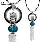 Viennois <b>Jewelry</b> Rose Gold/Silver Color Leopard Pendant Necklace for Woman Blue/Orange Crystal Full Rhinestone Long Necklaces