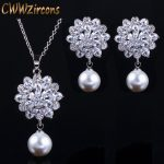 CWWZircons Brand Trendy Women Pearl <b>Jewelry</b> High Quality Zirconia Crystal Ladies Dangling Pendant Necklace And Earring Set T280